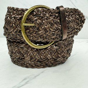 Ann Taylor Loft Wide Metallic Bronze Braided Belt
